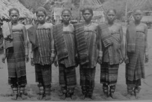 Women from the island of Babar in the South Moluccas in traditional ikat sarongs